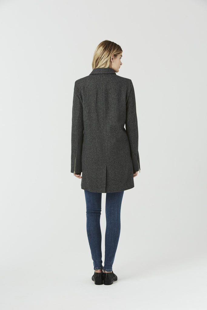 Carwyn - Wool Blend Biker Coat - Grey