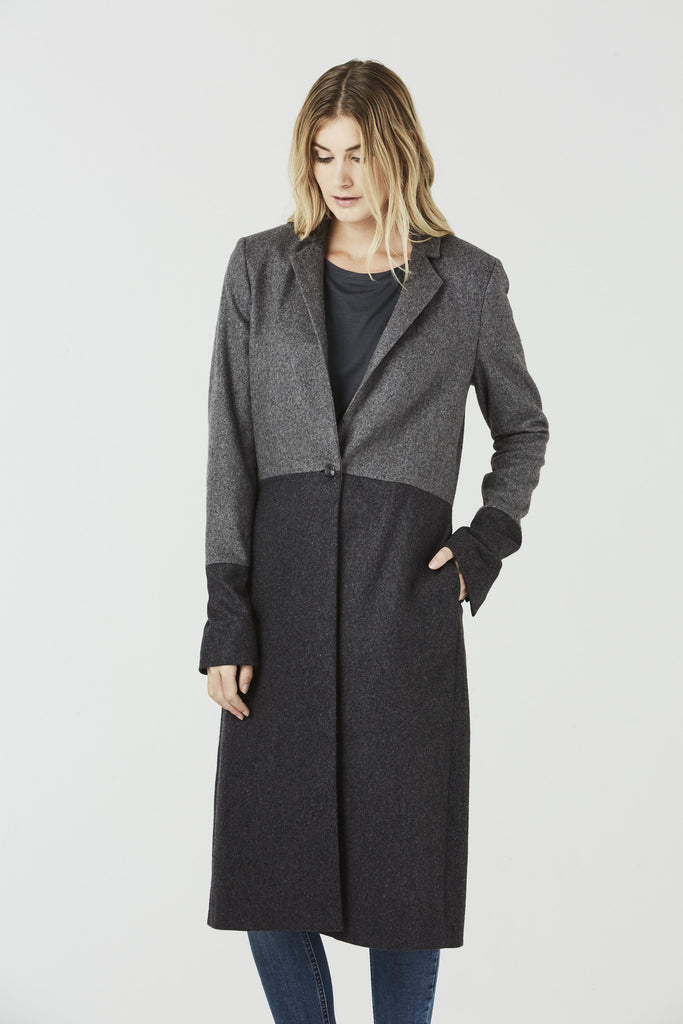 Corrine - Long coat - Two Tone Grey