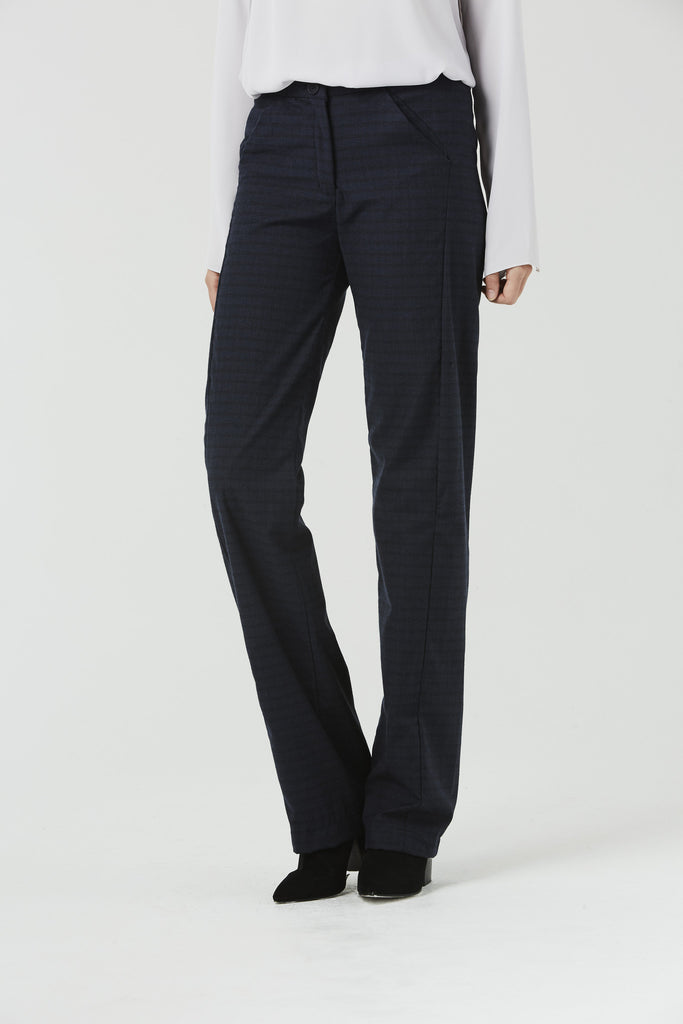 Carolyn - Wide leg trouser - Blue Plaid