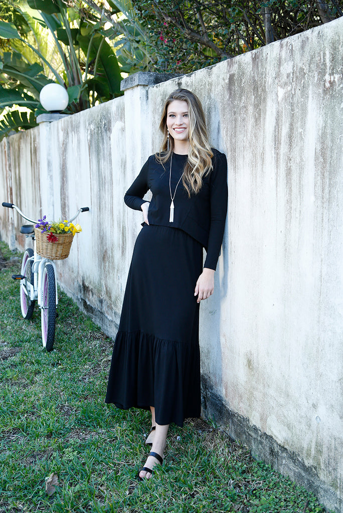 PRAIRIE MAXI SKIRT -BLACK