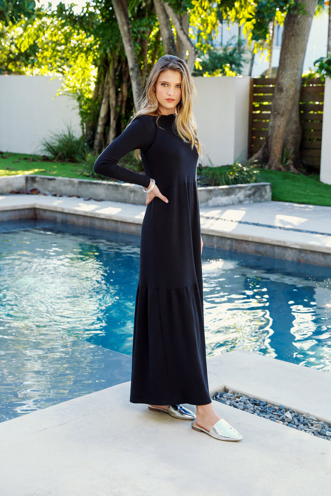 RIB TIERED MAXI JUMPER-BLACK