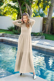 RIB TIERED MAXI JUMPER-SAND