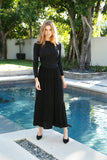 TIERED MAXI SKIRT-BLACK
