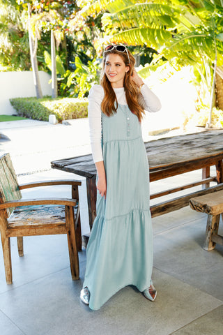 DENIM TIERED MAXI JUMPER