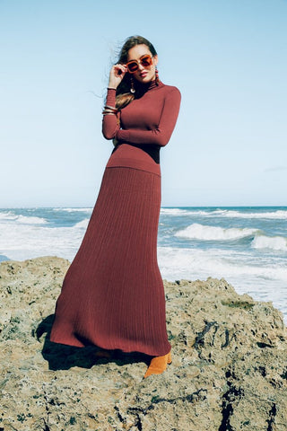 KNIT MAXI SKIRT-BROWN
