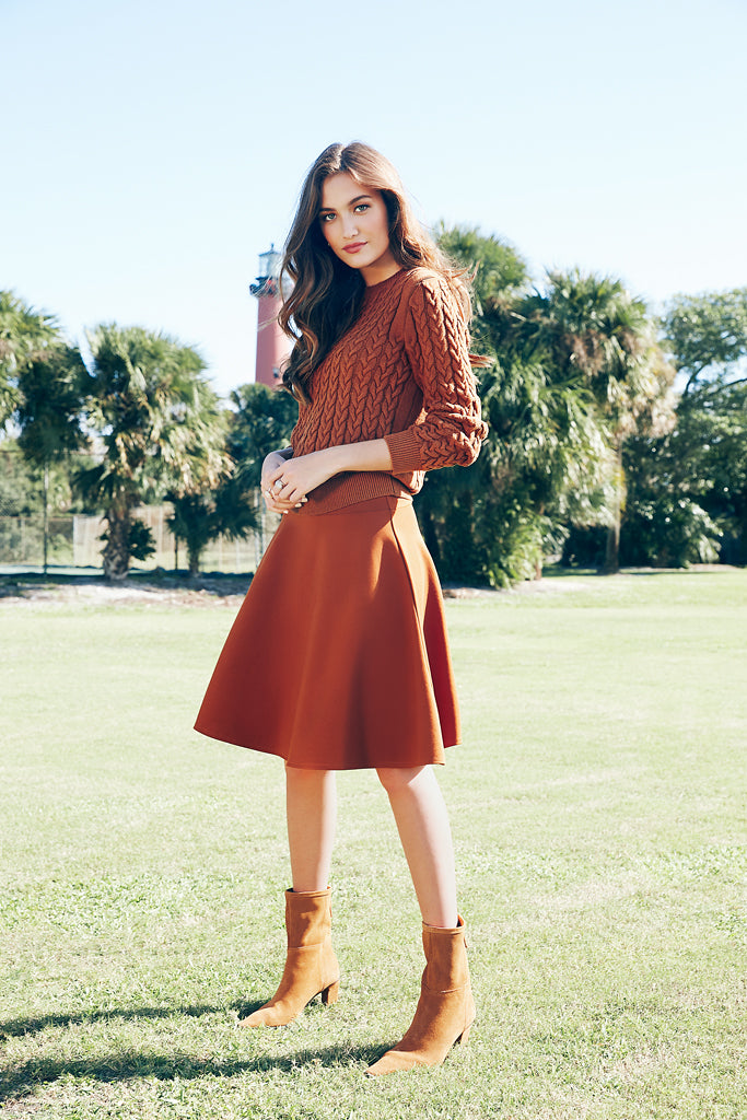 PONTE CIRCLE SKIRT- CINNAMON