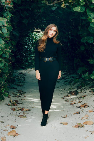 TURTLENECK SWEATER DRESS-BLACK