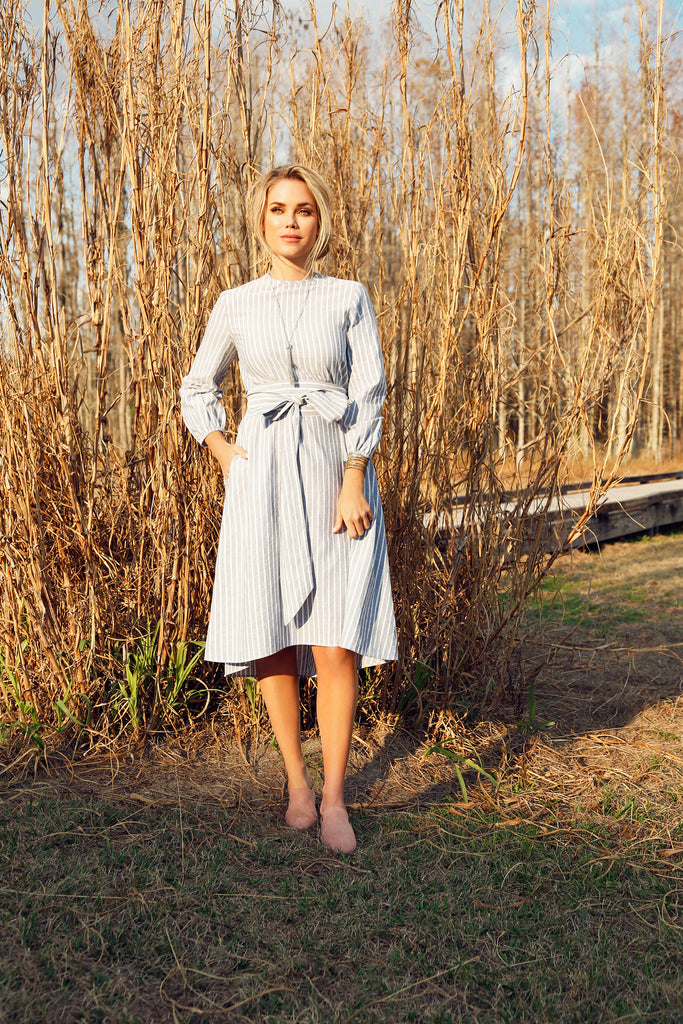Silver Stripe Midi Dress