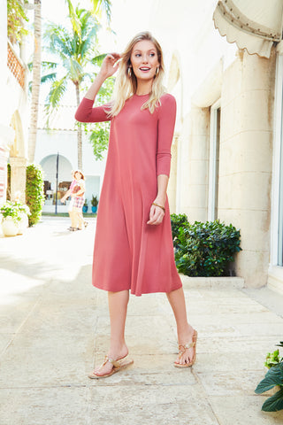 Classic Swing Dress- Rose