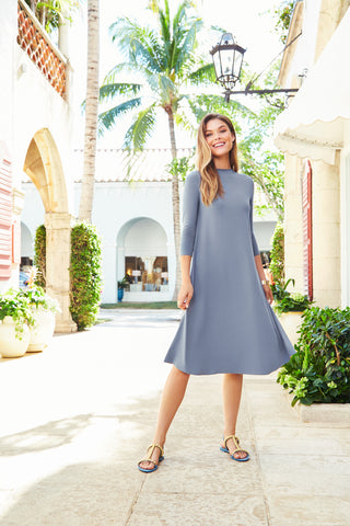 Classic Swing Dress - Slate Blue