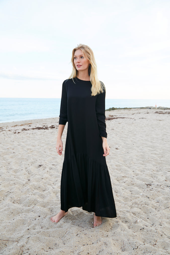 Silky Prairie Maxi Dress-Black