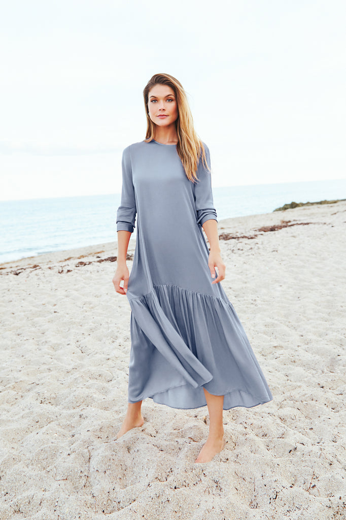 Silky Prairie Maxi Dress- Slate Blue