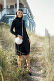 TURTLENECK MIDI DRESS- BLACK
