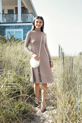 TURTLENECK MIDI DRESS- CLAY