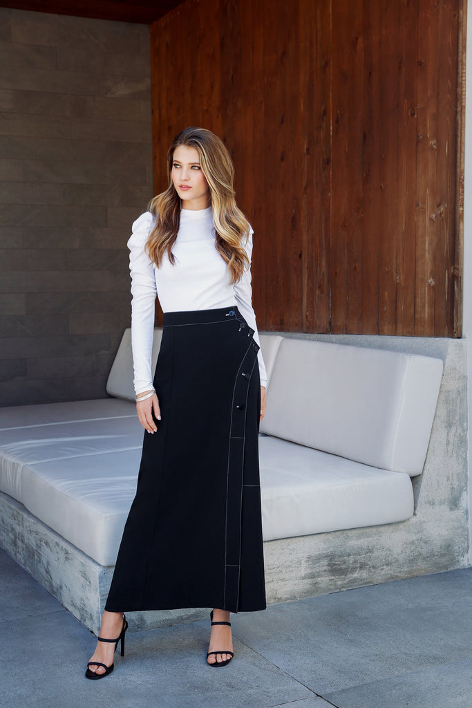 ASYMMETRIC BUTTON MAXI SKIRT-BLACK