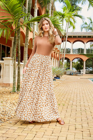 TIERED MAXI SKIRT-LEAF PRINT