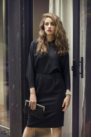 Blk Tie Batwing Dress