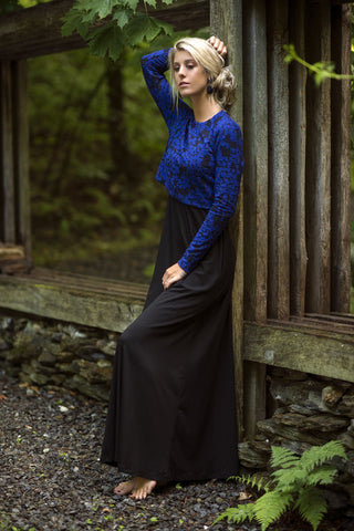 Crop Sweater Maxi-Cobalt
