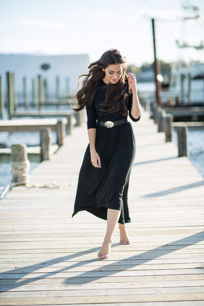 Hi-Low Maxi Dress - Black