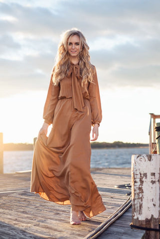Flowing Dress with Bow - Camel