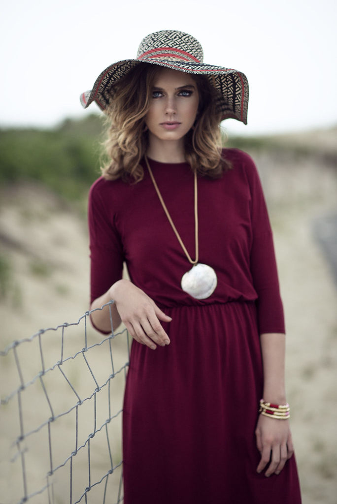 Dolman Sleeve Maxi Dress - Bordeaux