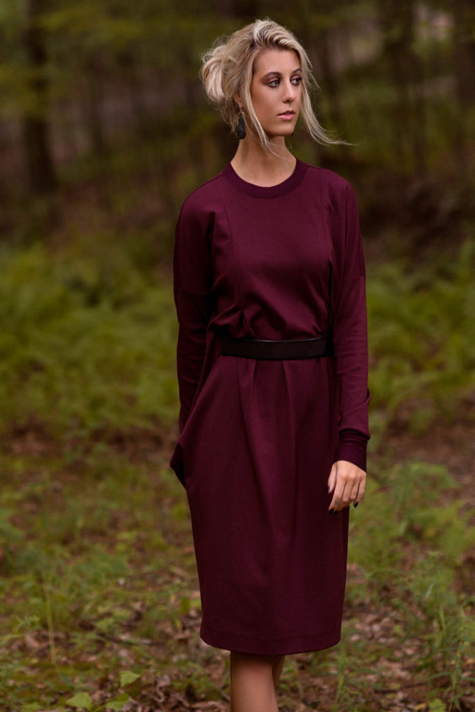 Blousy Ponte Dress - Burgundy