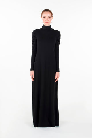 PUFF SLEEVE TURTLENECK MAXI