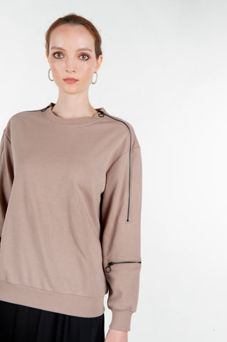 ZIPPER SWEATSHIRT- CLAY