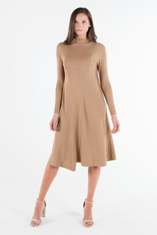 Funnel Neck Rib Dress - Camel