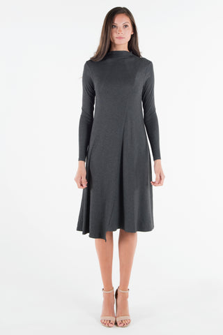 Funnel Neck Rib Dress - Charcoal