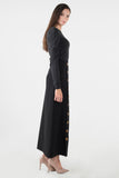 Button Maxi Skirt- Black