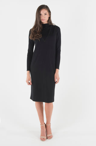 V-Neck Sweater Dress Set- Black