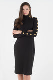Button Sleeve Rib Midi - Black