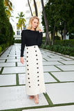 Button Maxi Skirt- Cream