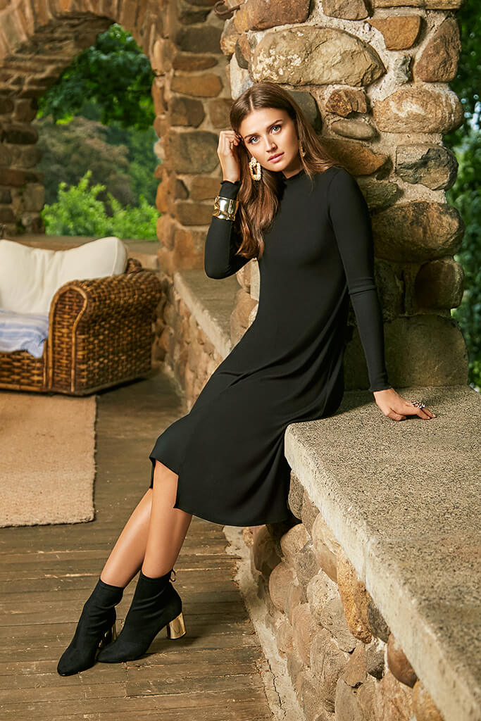 Funnel Neck Rib Dress - Black