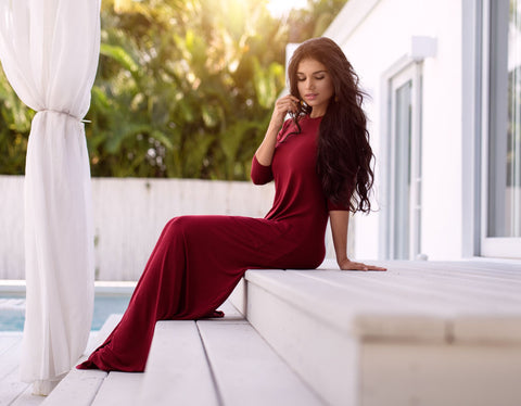 Crooked pocket Maxi Dress - Bordeaux