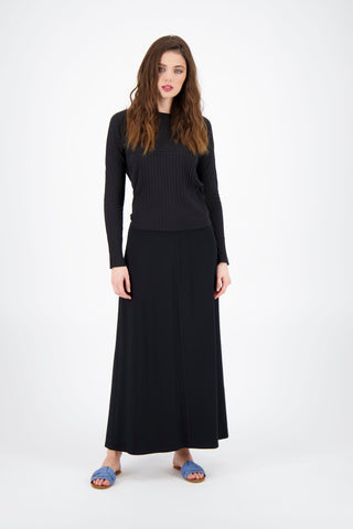 BASIC A LINE MAXI SKIRT-BLACK