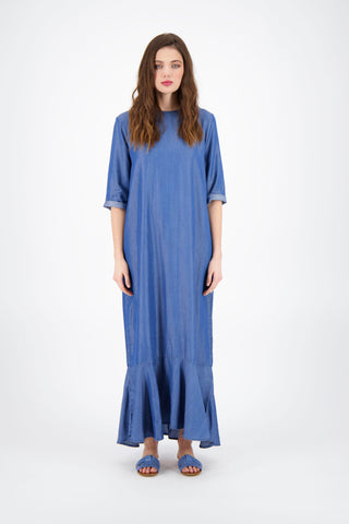 BACK PLEAT DENIM MAXI