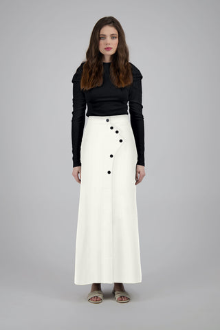 ASYMMETRIC BUTTON MAXI SKIRT-CREAM