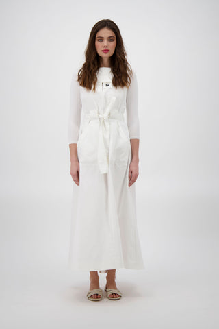 BUTTON TAB POPLIN JUMPER-WHITE