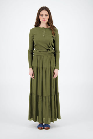 TIERED MAXI SKIRT-OLIVE