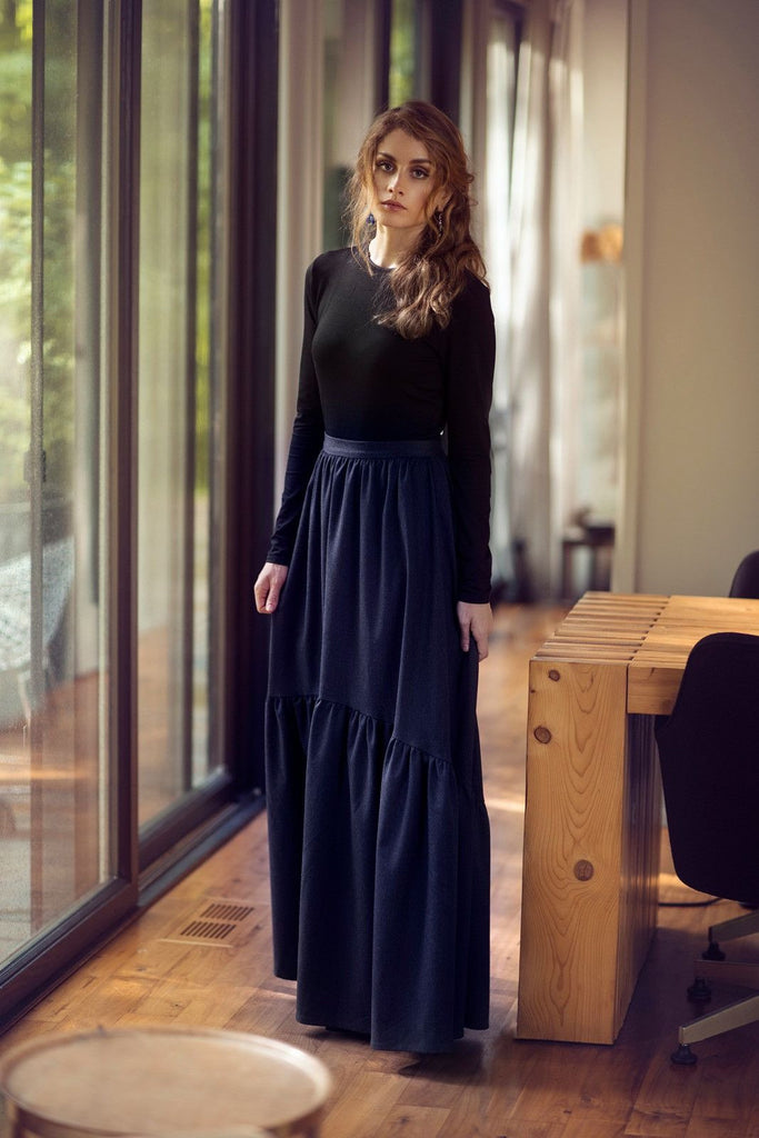 Peasant Sweep Maxi-Black and Blue