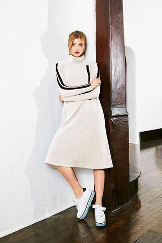 Sportstripe Sweatshirt Dress - White/Black