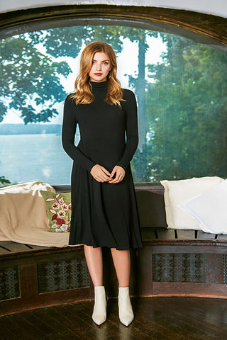 Turtleneck Sweater Dress - Black