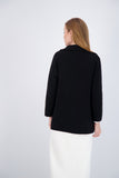OVER SIZED KNIT BLAZER-BLACK