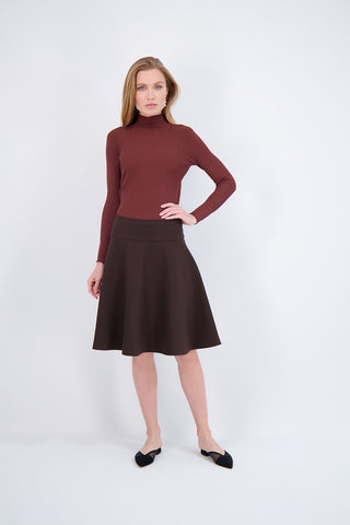 SMOCK NECK SWEATER-BROWN