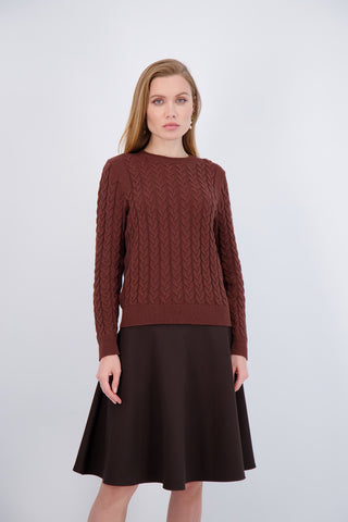 PONTE CIRCLE SKIRT- BROWN