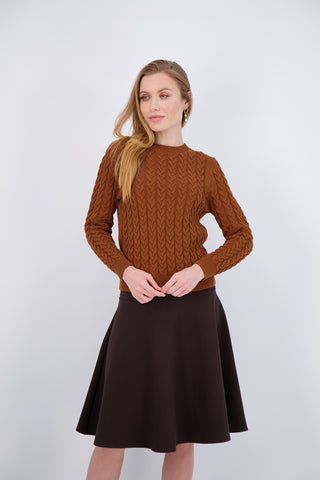 CABLE KNIT SWEATER-CINNAMON