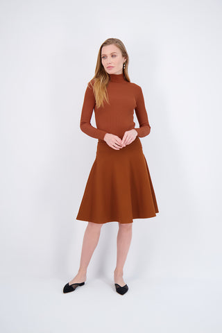 SMOCK NECK SWEATER-CINNAMON