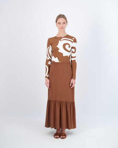 PRAIRIE MAXI SKIRT- SUMMER BROWN